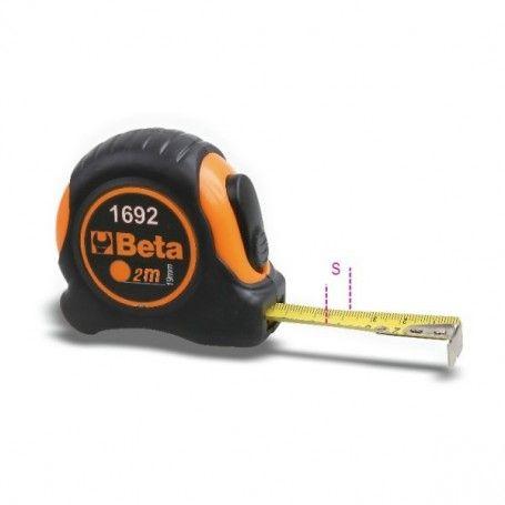 Flessometro 2m 16mm 90g cassa bimateriale ABS antiurto nastro acciaio classe precisione II 1692/2 016920052