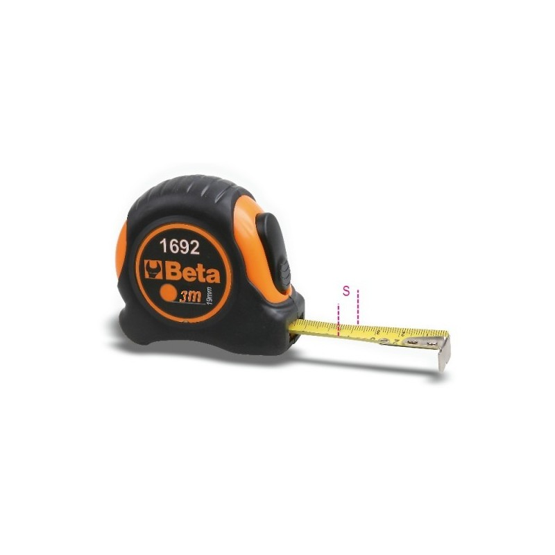 2m 16mm 90g tape measure bi-material casing ABS shockproof steel tape class II 1692/2 016920052